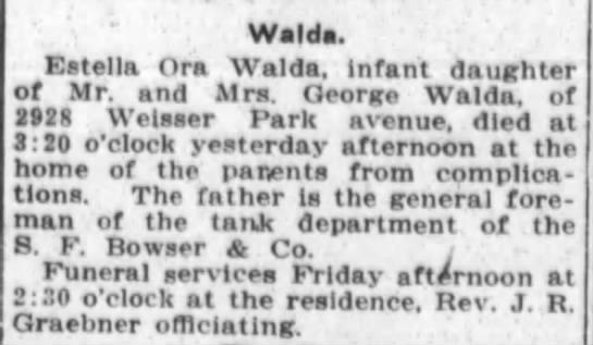 Estella Death - Walda. Estella Ora Walda, Infant daughter of...