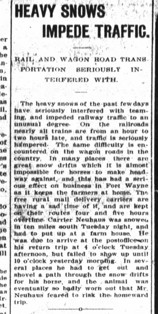 Snow and drifts keep Neuhaus from delivering the mail. - a the In - le - ot so; hie - HEAVY SHOWS IMPEDE...