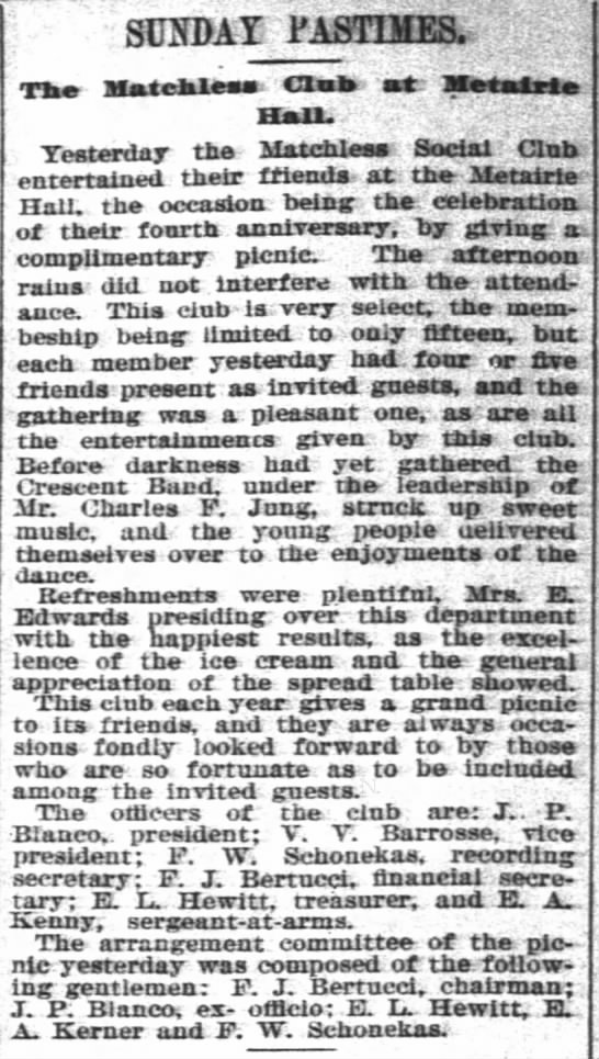 """V.V. Barrosse, vice president of club, Aug. 7, 1893 - SUNDAY i'ASTIMES. The Mate - bless Club sit..."