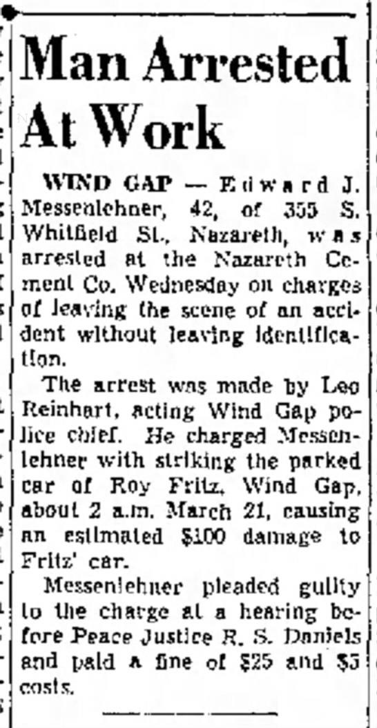 "Edward J Messenlehner Arrested - ""Beat ""Dar- at Thom- voy- and 4 at S Man..."