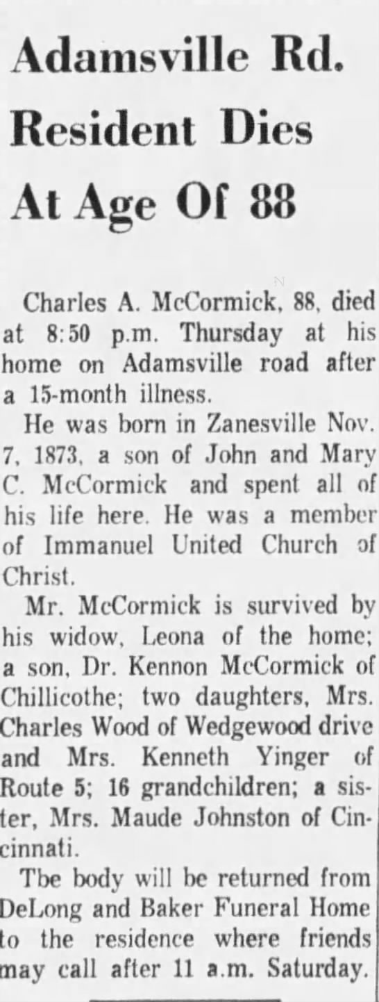 The Times Recorder, 01 Dec, 1961 - Adamsville Rd. Resident Dies At Age Of 83...