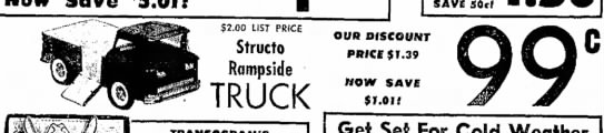 Structo-C - $ $2.00 LIST PRICE Structo Rampside TRUCK SAVE...