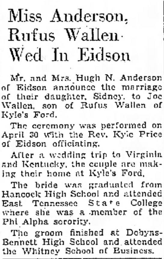 Joe Wallen {Rufus} marriage