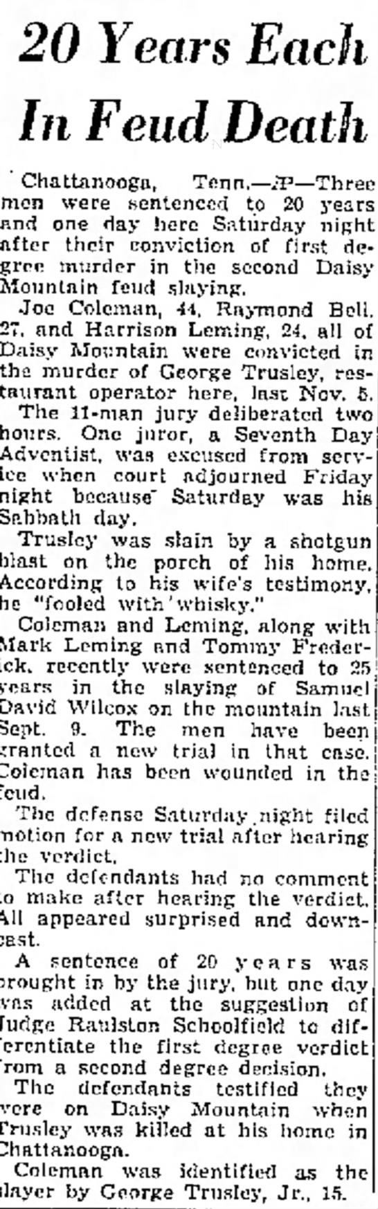 Daisy Feud - George Trusley case - Kingsport Times-News P1 6MAR49