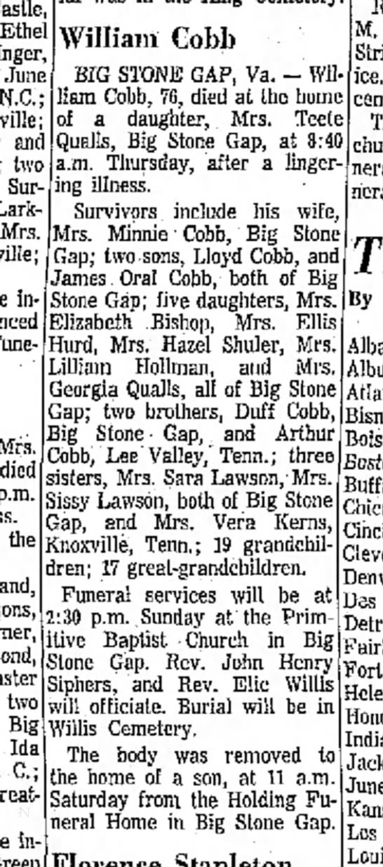 William Cobb Obit 1964 - Castle Ethe Olinger June N.C.; and two Sur-...