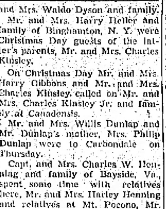 30 Dec 1953 - Kinsleys in Canadensis