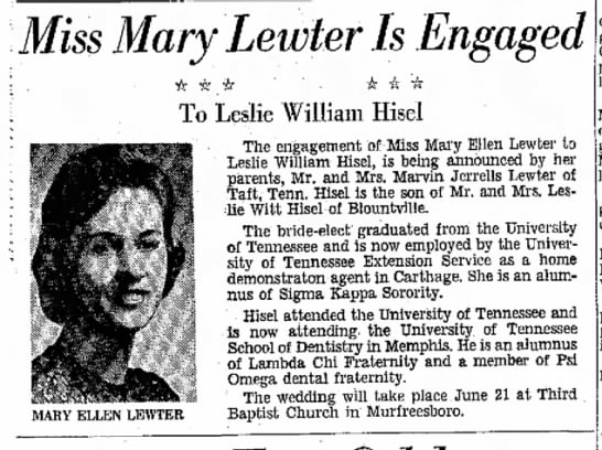 - Miss Mary Lewter Is MARY ELLEN LEWTER To Leslie...