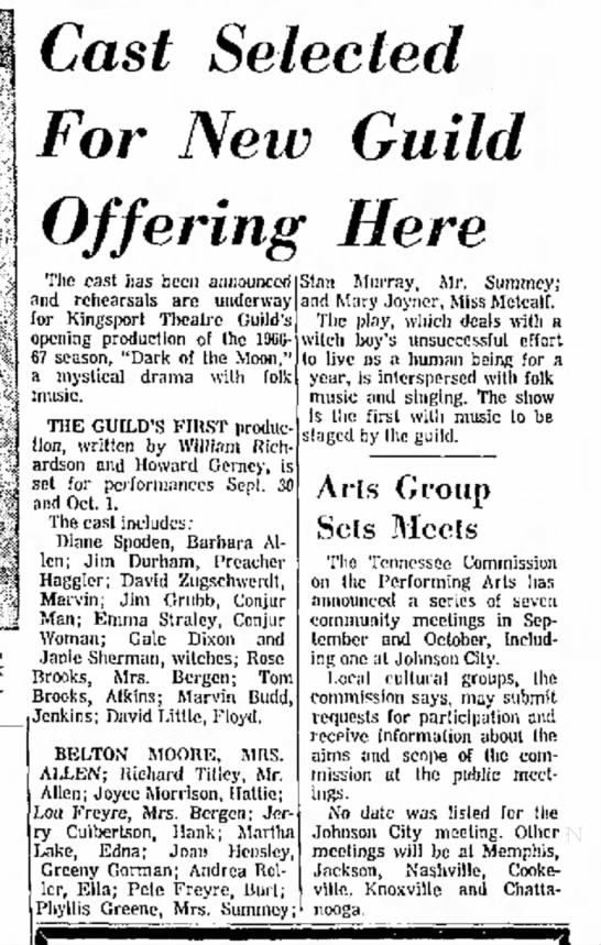 Janie Sherman in Theatre Guild production, 28 Aug 1966, Kingsport Times-News, TN, p. 34. - Cast Selected For Netv Guild Offering Here The...