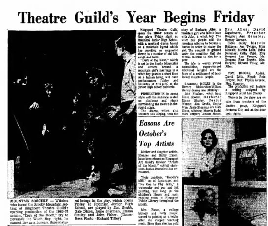 "Janie Sherman, Theatre Guild ""Dark of the Moon,"" Kingsport Times-News, 25 Sep 1966, p. 33. - Theatre Guild's Year Begins Friday MOUNTAIN..."