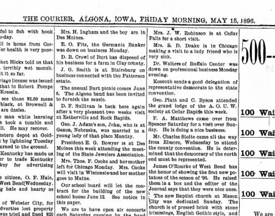 15 may 1896 algona courier - THE COURIER, IOWA. FRIDAY MORNING MAY 16, J...