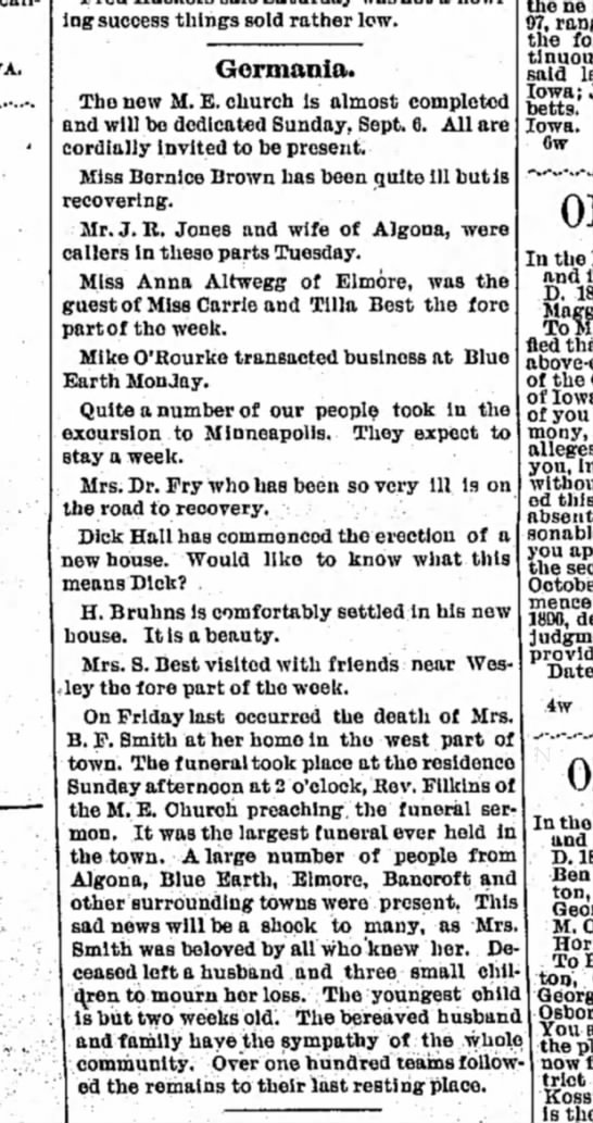 4 sept 1896 algona courier - howling success things sold rather low....