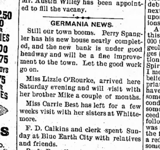 13 april 1894 algona courier - D . Mr. Austin Willey has been appointed...