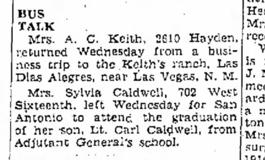 Dad's Graduation - BUS TALK Mrs. A. C. Keith, 2610 Hayden,...