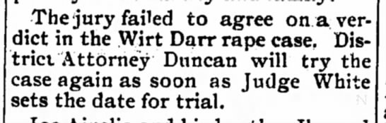Darr 7 April 1905p - The jury failed to agree on aver diet in the...