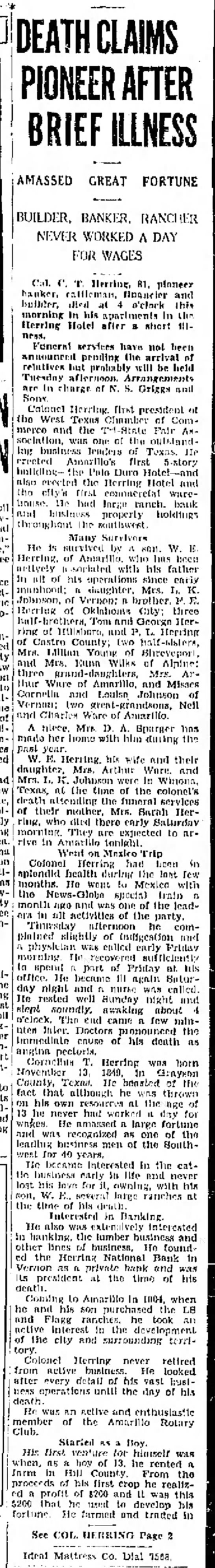 1931, 6-29 CT Herring dead Amarillo Globe-Times p1 - l DEATH CLAIMS PIONEER AFTER BRIEF ILLNESS...