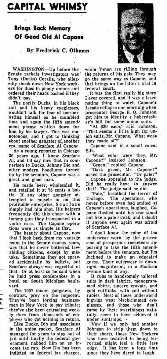 1957 Al Capone editorial, in Redland, Calif., newspaper - CAPITAL WHIMSY Brings Baek Memory Of Good Old...
