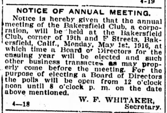 1916-04-26 WHITAKER W F - NOTICE OF ANNUAL MEETING - NOTICE OF AIMNUAL MEETING. Notice is hereby...