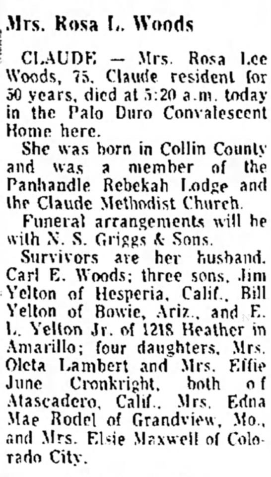 Rosa Lee Woods, Tuesday, 2 Jan 1968, pg. 15, col. 7 - v CI.AUDK -- Mrs. Rosa Woods, 75. Claude...