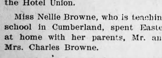 Nellie Browne teacher - the Hotel Union. Miss Nellie Browne, who is...
