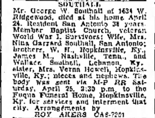 George W. Southall obituary - so lit U Art, Mr. QcorKC W. Boulhall nf 1634...