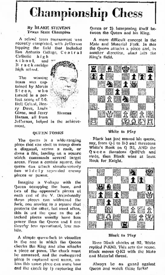 - Championship Chess .Stevens in the achieve- Ity...