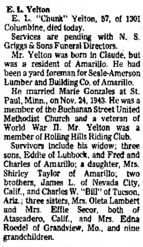 "E. L. Chunk Yelton, Wednesday, 22 Sep 1976, pg. 16, col. 2 - E.L. Yelton E. L. ""Chunk"" Yelton, 57, of..."