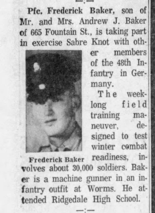 - Pfc. Frederick Baker, son of Mr, and Mrs....