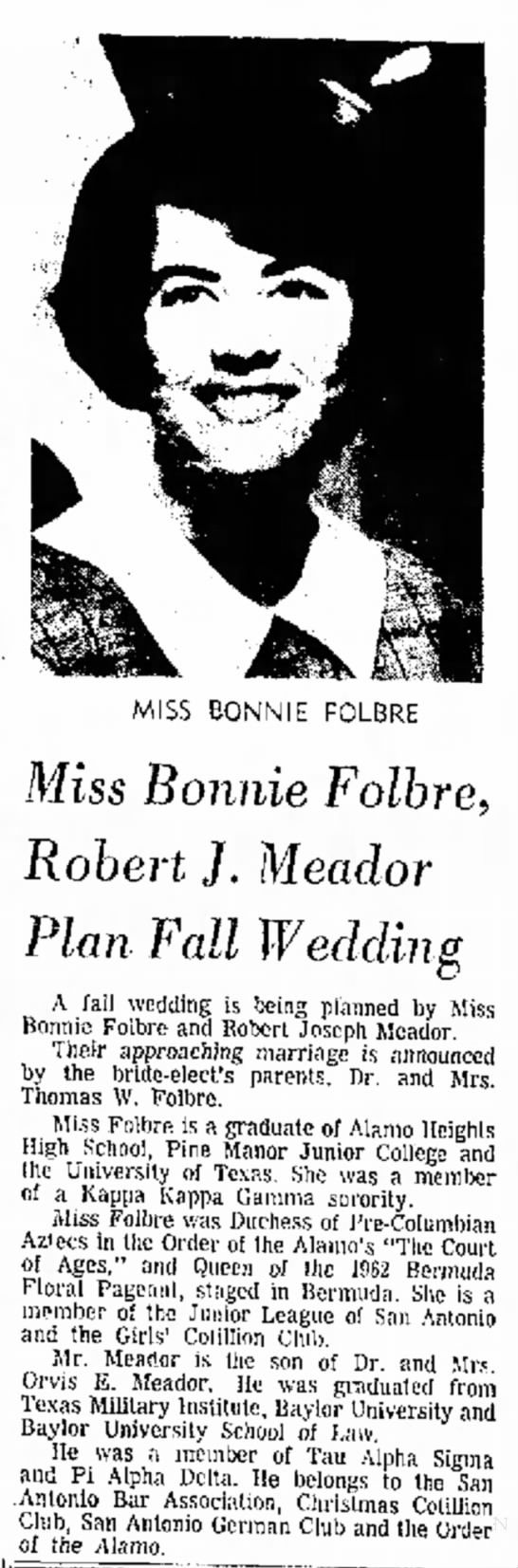 Folbre Meador wedding - very you a done what MISS BONNIE FOLBRE Miss...