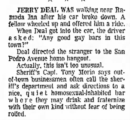 Looking for a Gay Bar in Texas. 22 June 1969