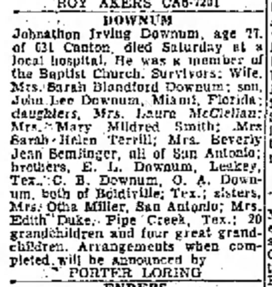 Johnathon Irving Downum, Sunday, 16 Oct, 1960, Sec B, pg, 20, col. 1. - . ROiT AK.EHS CAB-7201 DOWNUM Johnathon Irving...