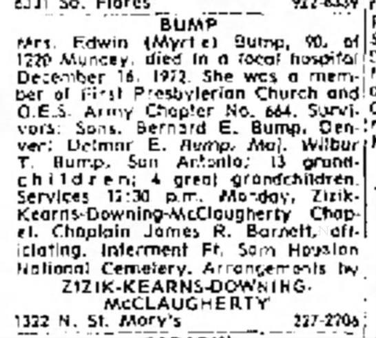 Myrtle Bump Obit - Wirj. Edwin tMyrtle) Bump, 90, of 1220 Muncey,...