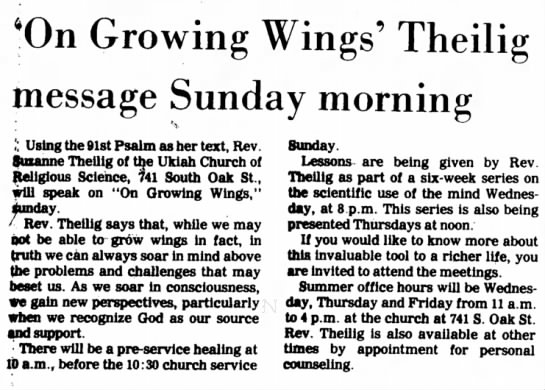 Ukiah Daily Journal: 5 Jun 1981: On Growing Wings Theilig message Sunday morning