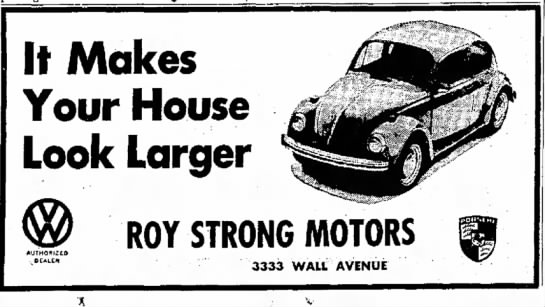 Roy Strong Motors Volkswagon 1969 - It Makes Your House Look Larger AUTHORIZE* ROY...