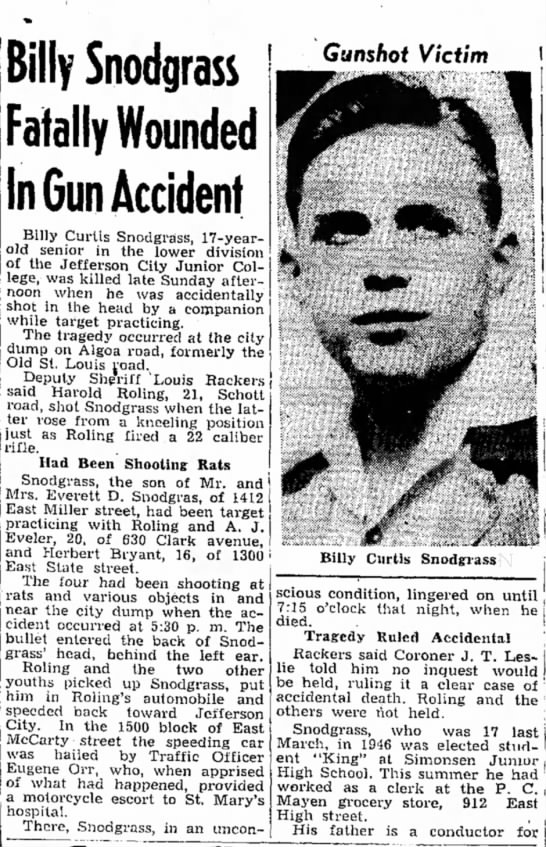 Bub Roling shoots boy - Billy Snodgrass Fatally Wounded In Gun Accident...