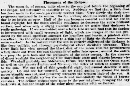 A description of the approaching solar eclipse, 1918 - Phenomena of the Eclipse. The moon is, of...