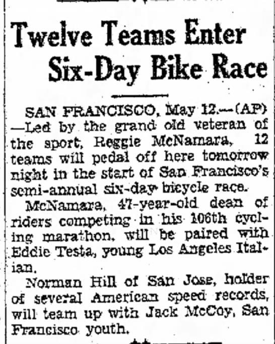 - four four Twelve Teams Enter Six-Day Bike Race...