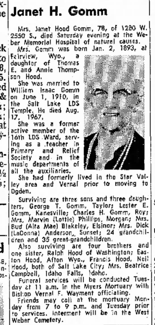 Janet Hood obit 4/19/1971 - to 0.5. Vi; at Plywood Teledyne, % 31%; Janet...