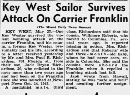 Willmore Roberts - Miami News 1945 - Key West Sailor Survives Attack On Carrier...