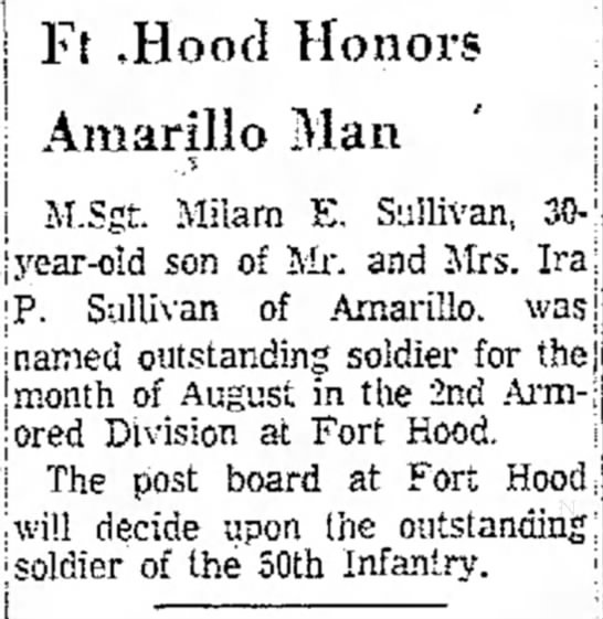 - or-j M.Sgt. Milam E. Sullivan, Ft ,Hoocl Honors...
