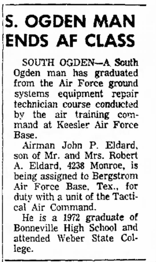 John Eldard Air Force Tech School Graduation