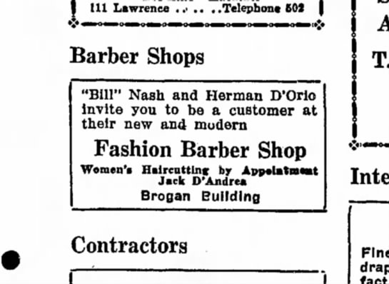 Barber Shops - Ill Lawrence . .> .. . .Telephone (02 Barber...