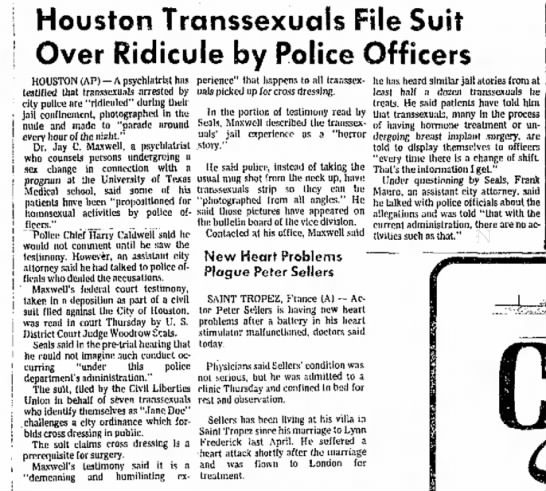 The Amarillo Globe-Times: Houston Transsexual File Suit Over Ridicule by Police Officers. 7/8/77 - Houston Transsexuals File Suit Over Ridicule by...