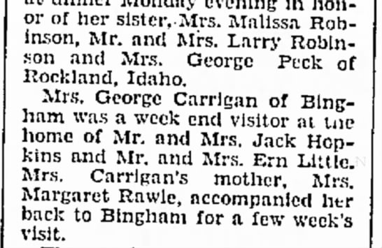 1934 ida Carrigan visited Morgan and returned with her mother. - honor of her sister,.Mrs. Malissa. Robinson,...