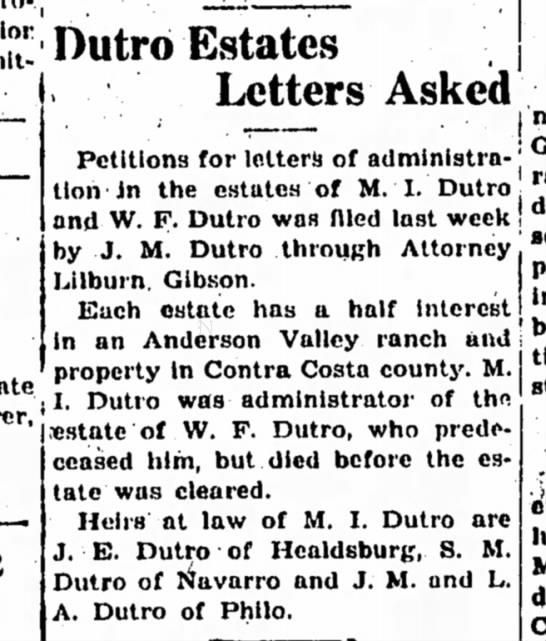 1932 - MI and WF Dutro estates - { Dutro Estates Letters Askeid Petitions for...