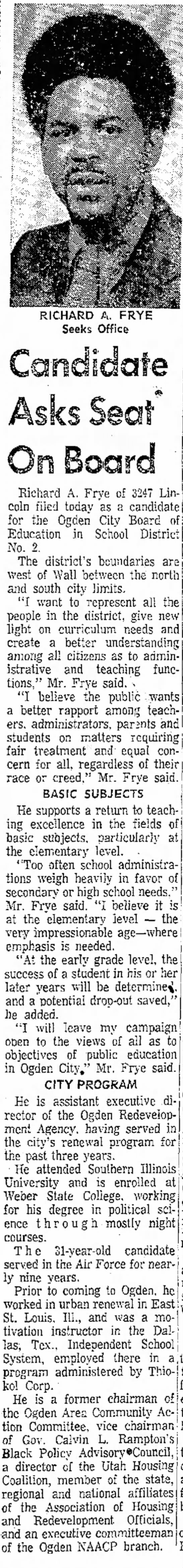 1974  - RICHARD A. FRYE Seeks Office for the Ogden City...