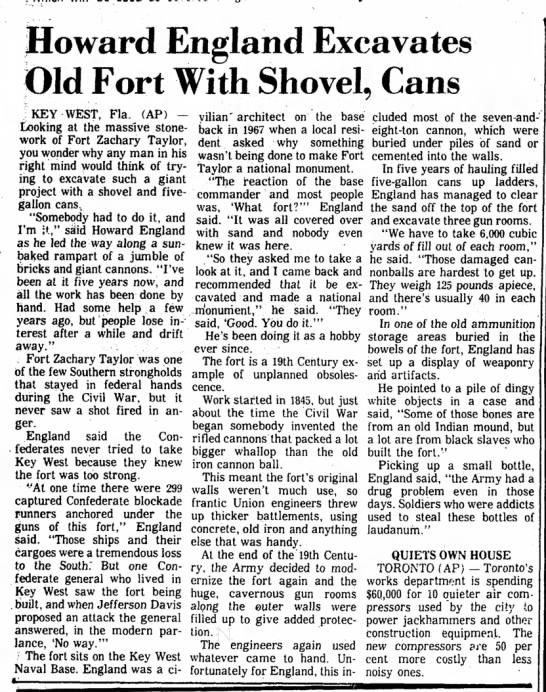 1973 Fort Taylor excavation
