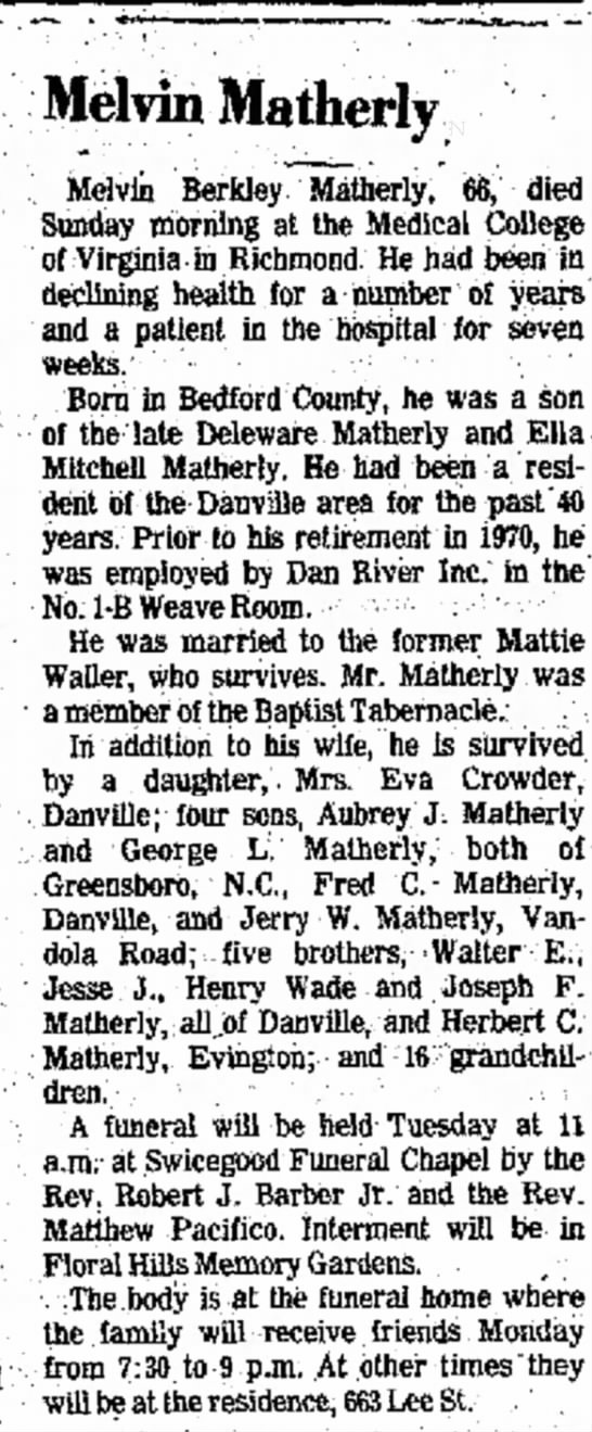 The Danville Register Melvin Matherly 19 Sep 1977 - P. of W. held the on times 519 Ohio. Melvin...
