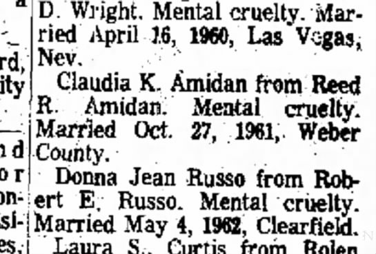 - 23rd, City busi- D. Wright, Mental cruelty....