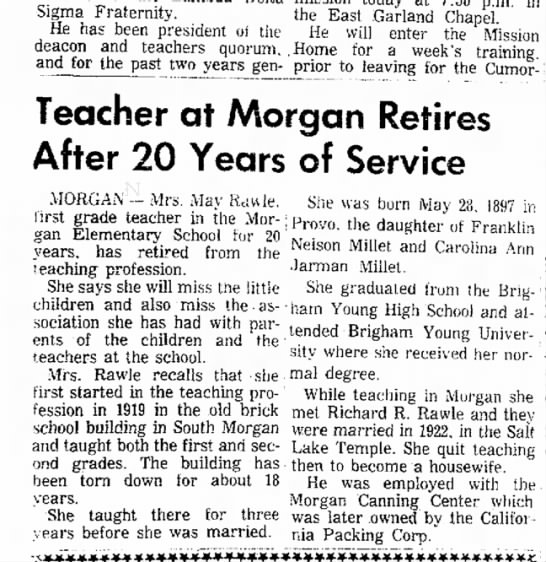 1964 Rawle, May Millet retires from teaching, OSE 30 Aug, p. 11 - Sigma Fraternity. He has been president of the...