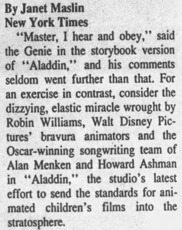 1992 New York Times Review of Aladdin calls it a